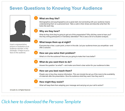 Your slide design should always keep the audience in mind. Use this persona template